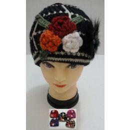 72 Bulk Hand Knitted Fashion CaP--3 Flowers & Fur