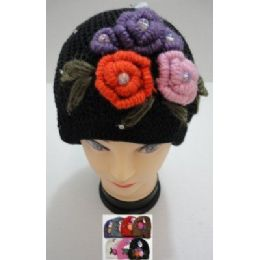 72 Bulk Hand Knitted Fashion CaP--5 Flowers And Rhinestones