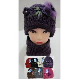 48 Bulk Hand Knitted Fashion Hat & Scarf SeT--1 Flower & Fur