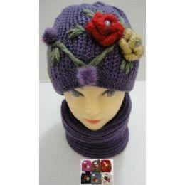 72 Bulk Hand Knitted Fashion Hat & Scarf SeT--2 Flowers