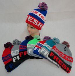 48 Bulk Hand Knitted Fashion Hat & Scarf SeT--3 Flowers & Fur
