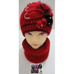 48 Bulk Hand Knitted Fashion Hat & Scarf SeT--RhinestoneS-BeadS-Fur