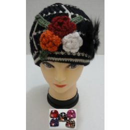 36 Bulk Hand Knitted Fashion CaP--3 Flowers & Fur