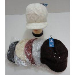 24 Bulk Ladies Hand Knitted Cap With Rhinestones