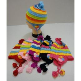 72 Bulk Child's Knit Cap With Ear Flap And PompoM--Flowers