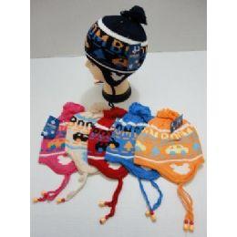 72 Bulk Child's Knit Cap With Ear FlaP--Cars