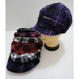 60 Bulk Ladies Knit NewsboY-Heavy Knit Plaid With Sparkles