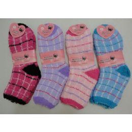 144 Bulk Fuzzy Socks 9-11 [plaid]