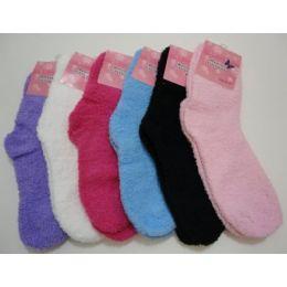 144 Bulk Fuzzy Socks 9-11 [solid Color]