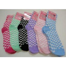 144 Bulk Women's Fuzzy Socks 9-11[ Two Color Checkerboard