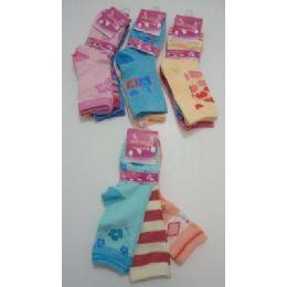 300 Bulk Girls Printed Crew Socks 6-8
