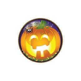 """72 Bulk Pumpkin Grins 9"""" Plate - 8ct."""
