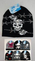 24 Bulk Assorted Skulls Knit Beanie