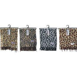 72 Bulk Ladies Leopard Print Woven Cashmere Feel Scarf #21017