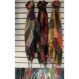 72 Bulk Pashmina With FringE--Plaid With Peace Signs