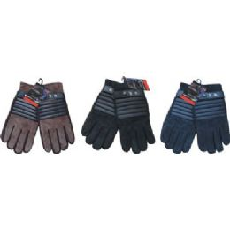 24 Bulk Winter Glove Suede Men With Stripe