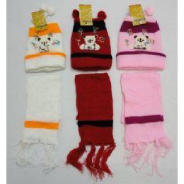 144 Bulk Baby Knit Cap With ScarF--Bears