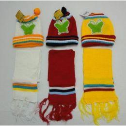 48 Bulk Baby Knit Cap With ScarF--Butterflies