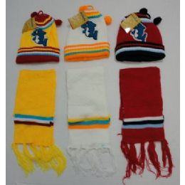 48 Bulk Baby Knit Cap With ScarF--Dolphins
