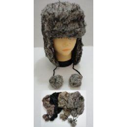 72 Bulk Bomber Hat With PompoM--Faux Fur