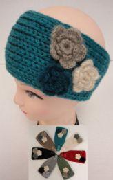 12 Bulk Hand Knitted Ear BanD--Multi & Flower