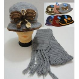 72 Bulk Hand Knitted Fashion Hat & Scarf SeT--Butterfly