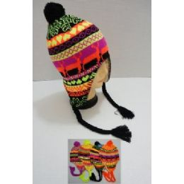 72 Bulk Helmet Hat Knit Design Neon