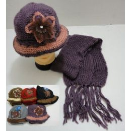 48 Bulk Hand Knitted Fashion Cap & Scarf SeT--Lg Flower