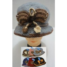 48 Bulk Hand Knitted Fashion HaT--Butterfly
