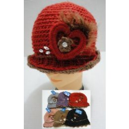 48 Bulk Hand Knitted Fashion HaT--Heart & Feather