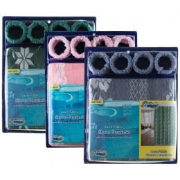 24 Bulk Item# 1006 Lace Fabric Shower Curtain, Liner & Hook Set