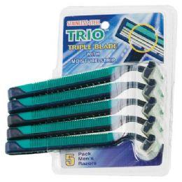 108 Bulk Item# 1016 5 Pack Stainless Steel Triple Blade Razors