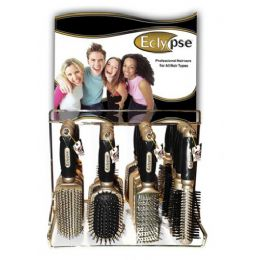 144 Bulk Eclypse Hairbrush On Metal Display Rack