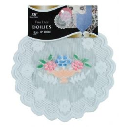 """144 Bulk 3 Pc 10"""" Rd Airbrushed Lace Doilies"""
