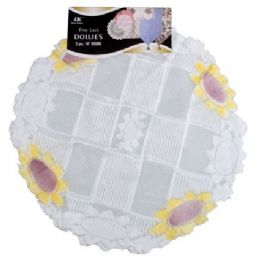 """144 Bulk 2 Pc. 14"""" Rd. Airbrushed Lace Doilies"""