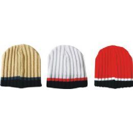 144 Bulk Mens Striped Ribbed Hat