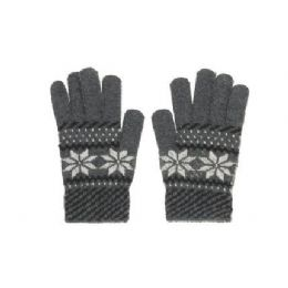 72 Bulk Snow Flake Knit Glove One Size Fits All , Assorted Colors