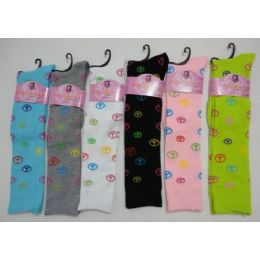120 Bulk Ladies Knee High Socks 9-11 [peace Signs]
