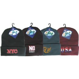 144 Bulk Winter Ski Hat With Embroidered Designs