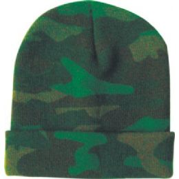 48 Bulk Camo Design Ski Hat Asst Colors