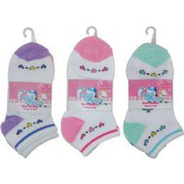 72 Bulk 3 Pack Of Girls Ankle Sock Size 6-8