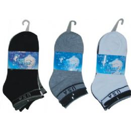 72 Bulk 3 Pair Solid Ankle Sock For Kids Size 6-8