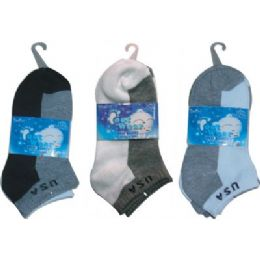 72 Bulk 3 Pair Solid Ankle Sock For Kids Size 4-6