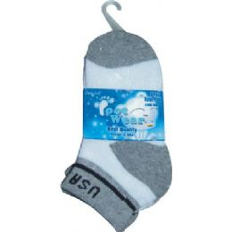 72 Bulk 3 Pair Solid Cotton Ankle Sock For Kids Size 4-6 Usa