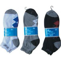 144 Bulk 2 Pair Mens Argyle Ankle Sock 9-11