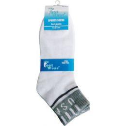 96 Bulk 3 Pair Pack Men Usa Ankle Sock