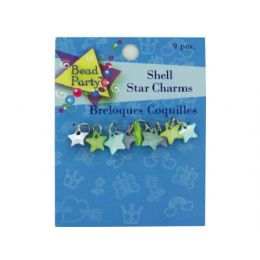 144 Bulk Pastel Shell Star Charms, Pack Of 9