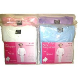 48 Bulk Girls Thermal Underwear Sets