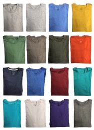 120 Bulk Mens Cotton Crew Neck Short Sleeve T-Shirts Mix Colors, 3X LARGE