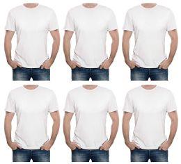 6 Bulk Mens Cotton Short Sleeve T Shirts Solid White Size xl